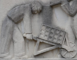 Sculptor Lenore Thomas created a series of bas relief panels depicting the preamble of the Constitution on the original Greenbelt Center School in Maryland the 1930s. Each one reflects the era's social and economic concerns.